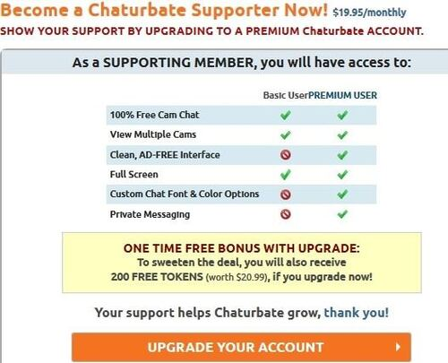 Chaturbate's membership supporter level is a paid-for tier offering free tokens and benefits