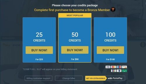 Sexier offers a variety of credit bundles at varying price points